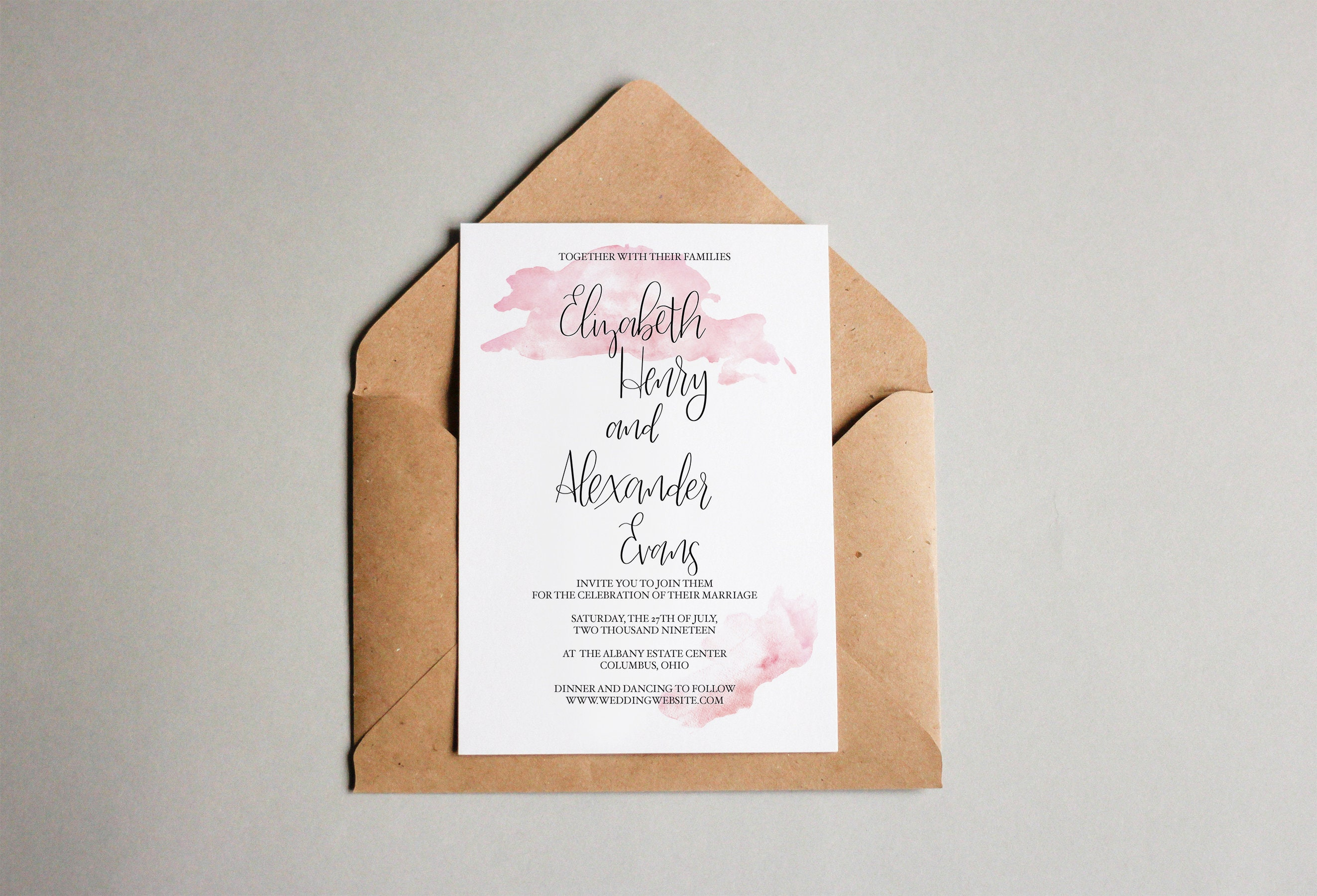 Simple Watercolor Wedding Invitation Hand Lettered Wedding   Etsy