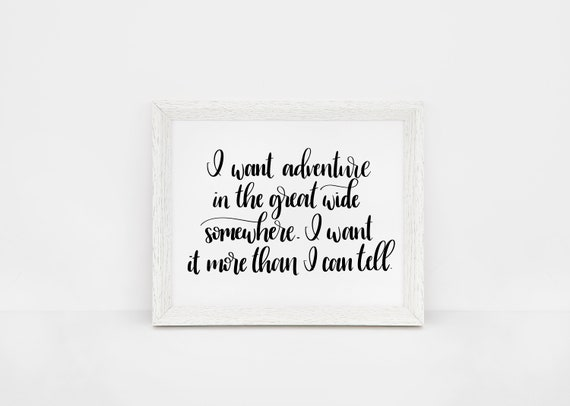 Disney Nursery Print | Disney Quotes | Beauty and the Beast Quote | I Want  Adventure in the Great Wide Somewhere | Inspirational Disney