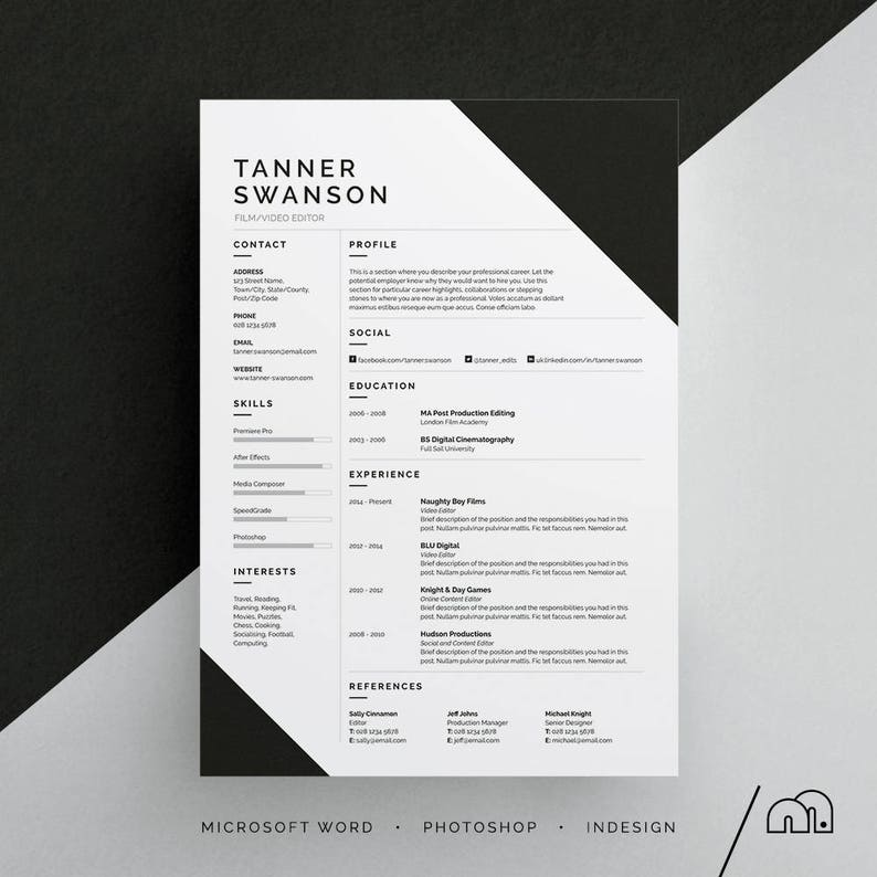 Tanner Resume CV Template Word Photoshop InDesign