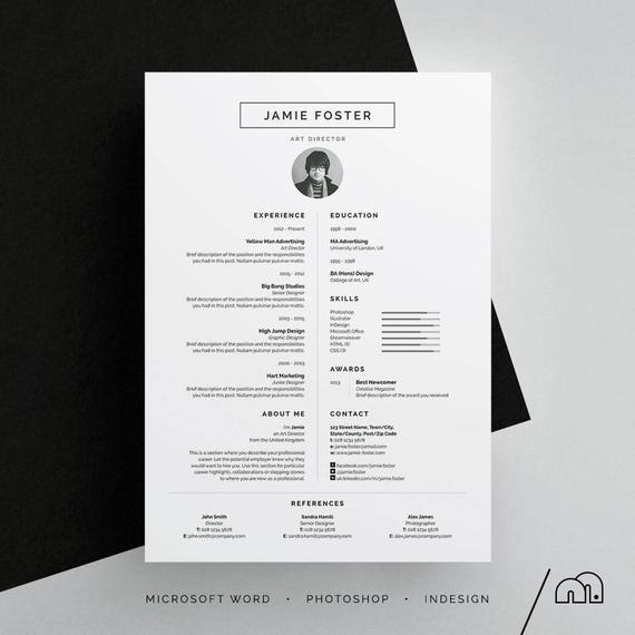 jamie resume  cv template word photoshop indesign