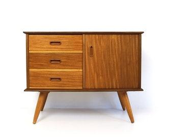 Midcentury Modern Teak 60s Design 3 Drawer And Door Cabinet Cupboard Closet Small  Cabinet 1950 Scandinavian Danish Design Teak Furniture