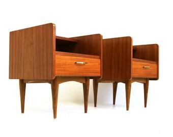 Couple /Pair Midcentury Modern 2 Tier Teak Verneer Valve Scandinavian 60  Nightstands Danish Design Bedside Table Side Table 19501960 Retro