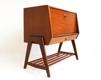 Midcentury Modern Teak Bar Cabinet Tv Cabinet Magazine Cabinet Drawer  Authentic Valve1960 Scandanavian Retro