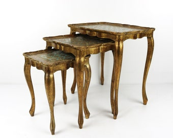 Set of 3 Italian Florentine  gold  Hollywood Regency Wood Stacking Nesting Tables  aditional tables side tables set tables plant tables