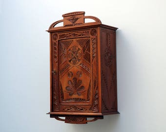 Antique dutch Provencial Chip Carved wood carved pediment  Medicine Bathroom Kitchen Cabinet Small Wall Cabinet Apothecary Key Cabinet 1920