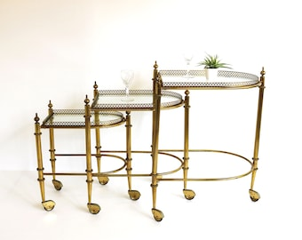Midcentury Modern Brass Barcart Teacart Sidetable Set Portable Nesting  Tables Gold Hollywood Regency Removable Trays