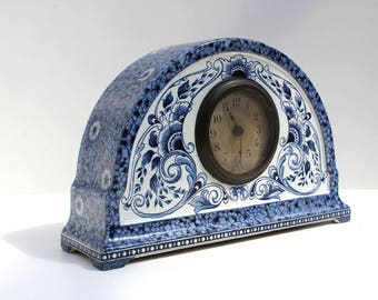Very Rare Antique Dutch Clock Petrus Regout Maastricht Delfts Blue white Holland ceramic, pottery mantelpiece 1900 ceramics
