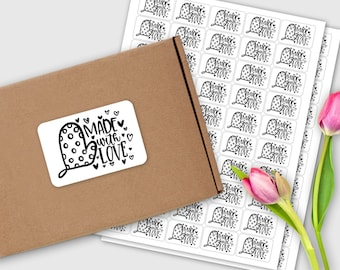 Oven Mit Made with Love Sticker Set / 50 labels / Baked with Love / Handlettered / Doodle / Packaging Sticker
