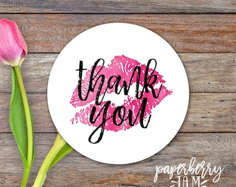 Lipstick Thank you Stickers / Thank You Lip Stickers / Modern Calligraphy / Thank You Labels / Etsy Packaging Stickers / Lipgloss, Makeup