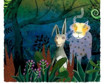 "Jaguar and the rabbit ""were witnesses"" illustration"