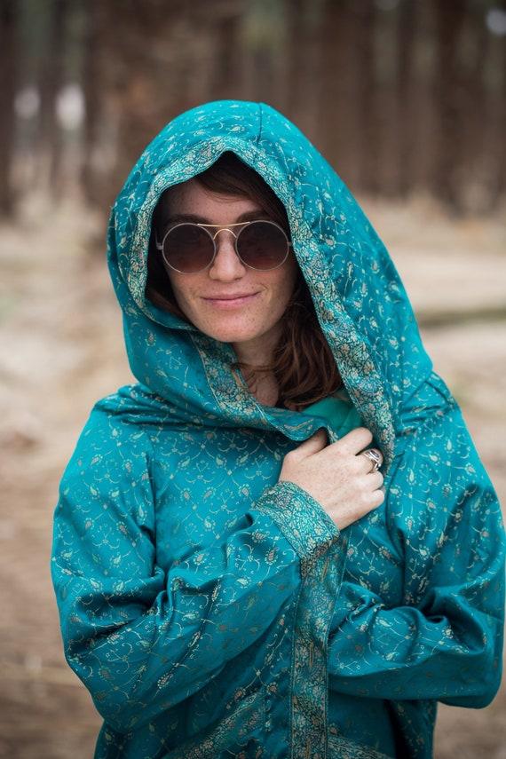 Ethnic Unisex Unisex Hooded Ethnic Turquoise Robe Turquoise qwqx5ZT