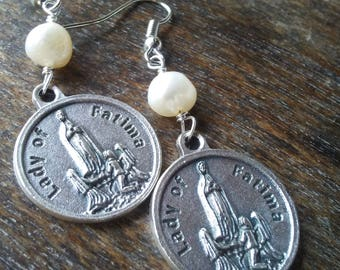 Our Lady of Fatima Pearl Earrings