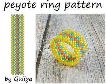 Yellow blue ring pattern for beading Pattern download Beadwork ring Delica bead pattern Yellow blue jewelry pattern Peyote jewelry making