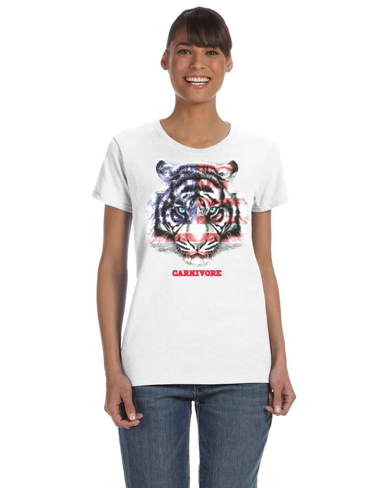 Women's USA American Flag Tiger Carnivore T-Shirt 4X US letter, chest