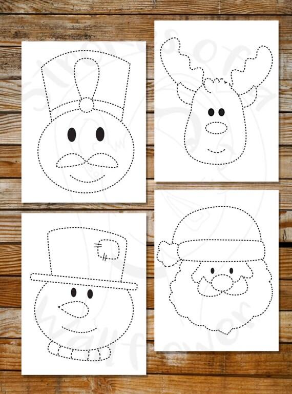 Christmas Tracing Sheets Santa Snowman Reindeer Etsy