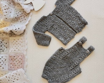 Unisex baby sweater and romper set Crochet wool baby outfit Vintage newborn bodysuit set