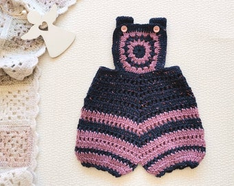 Blue pink wool shorts for baby girl Vintage crochet pants fot 3 - 6 months girl