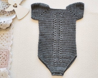Baby romper from gray wool Vintage crochet unisex bodysuit for 6 - 9 months baby
