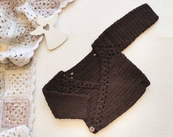 Brown wool vintage baby kimono sweater Crochet unisex wrap for 0 - 3 months baby