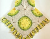 Wool crochet poncho Womens hippie wrap Wool granny squares poncho Green yellow crochet Warm poncho Cape poncho Hooded green beige poncho