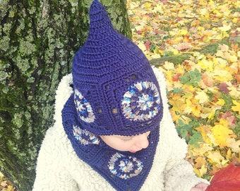 0a187f953fe Navy hat Chunky scarf set Crochet kids hat Hat scarf set Circle scarf hat  set Mandala hat Dwarf hat set Gift for kids Navy set Crochet