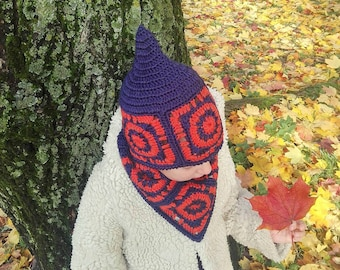 4efb0bc1515 Crochet kids hat Mandala hat Navy hat Hat scarf set Chunky scarf set Circle  scarf hat set Dwarf hat set Navy set Crochet scarf Elfin hat