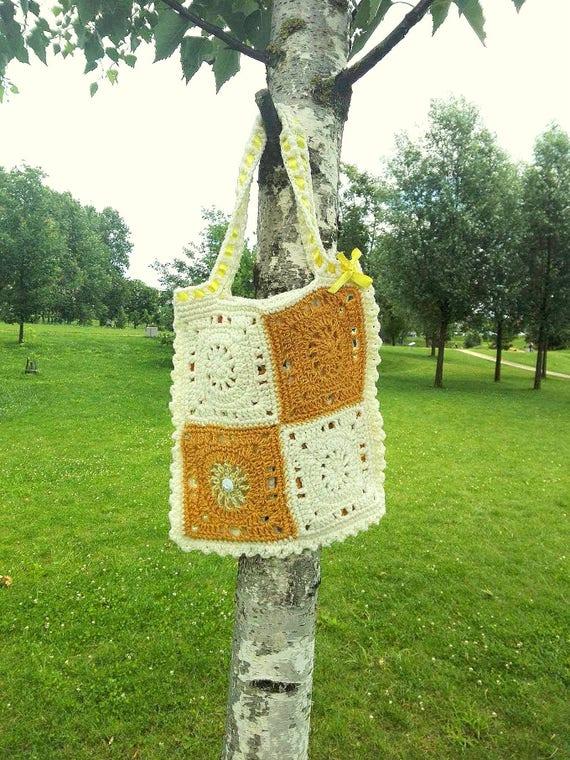 Sommer Mädchen Tasche Gelb Weiß Tasche Häkeln Baby Kleinkind Etsy