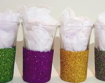 Mardi Gras Glass Glitter Glass Glitter Shot Glass Mardi Gras Colors Shot Glass Set Of Four Shot Glasses Best Friends Barware
