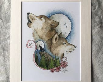 Wolves by Moonlight- Print