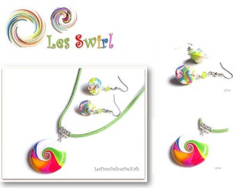 Rainbow swirl stud earrings and necklace