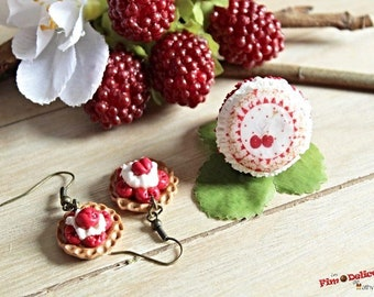 Ring badge red and cherry and cherry pie earrings