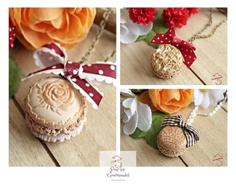 Macarons Bisque relief in polymer clay necklaces 3 designs to choose from