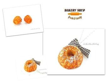 Fimo mini fluted kougelhopf bun and earrings necklace