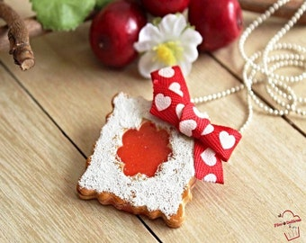 FIMO square strawberry jam biscuit necklace