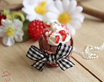 FIMO chocolate and strawberry cupcake necklace