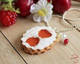 Necklace biscuit glasses strawberry jam FIMO