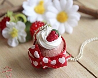 Chocolate and strawberry fimo muffin cupcake necklace