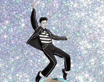 ELVIS PRESLEY 'Disco Daddy' Vintage Glitter Print