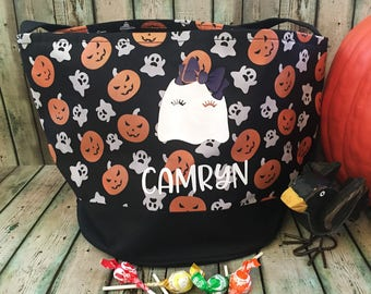 Trick or Treat Bag - Halloween Treat Bag - Personalized Halloween Bag - Halloween Tote Bag - Halloween - Trick or Treat - Ghost Candy Bag