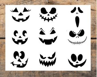 Set of 9 Pumpkin Face Decals - Jack O Lantern Decals - Pumpkin Decal - Halloween Decor