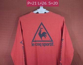 Vintage Le Coq Sportif Shirt Long Sleeve Big Logo Shirt Red Colour Size L Fila Shirts Nike Shirts Sportwear