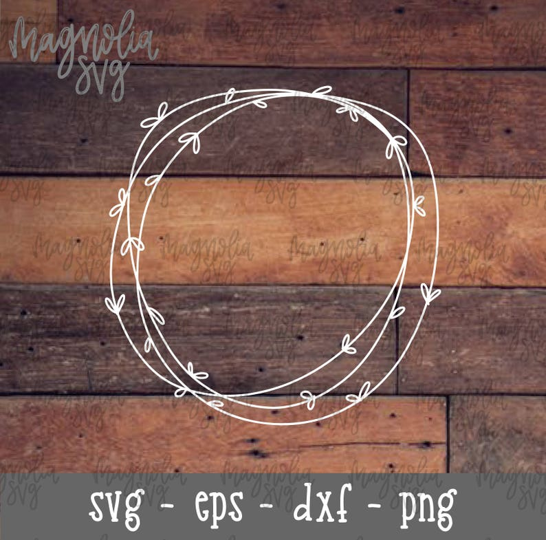 Hand Drawn Wreath SVG Hand Made Wreath Cut File Wreath image 0