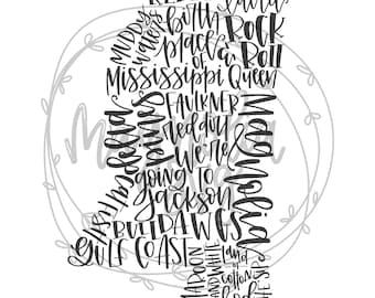 Mississippi State SVG, State of Mississippi SVG, MS svg, Handlettered State svg, Handlettered State Art, State Silhouette svg Cut File