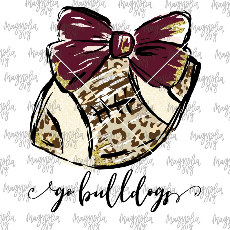 Leopard Football with Bow and Glitter Accents Football Clip Art Sub Printing Go Bulldogs Graphic File for Sublimation Transfer Printing