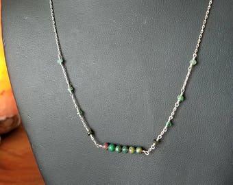Emerald & Fire Opal Bar Necklace