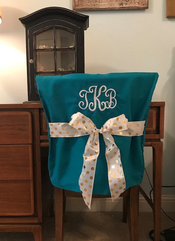 Brilliant Desk Chair Covers Teal Monogrammed Dorm Chair Back Cover Personalized Chair Cover Office Chair Dining Chair One Size Fits Most Theyellowbook Wood Chair Design Ideas Theyellowbookinfo