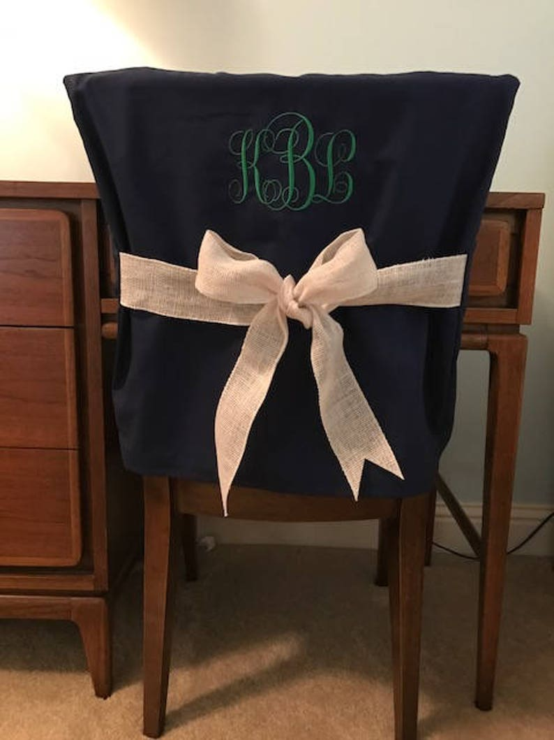 Phenomenal Desk Chair Covers Navy Monogrammed Dorm Chair Back Cover Personalized Chair Cover Office Chair Dining Chair One Size Fits Most Theyellowbook Wood Chair Design Ideas Theyellowbookinfo