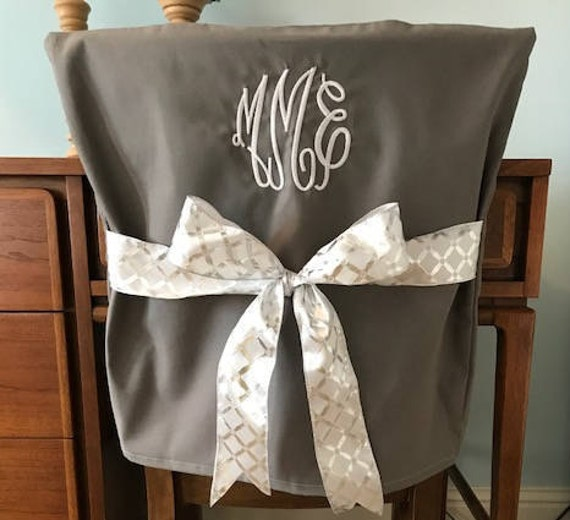 Desk Chair Covers/Gray Monogrammed Dorm Chair Back Cover ...