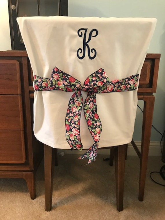 Surprising Monogrammed Single Initial Dorm Chair Back Cover Dorm Desk Chair Personalized Chair Cover Office Chair One Size Fits Most Creativecarmelina Interior Chair Design Creativecarmelinacom