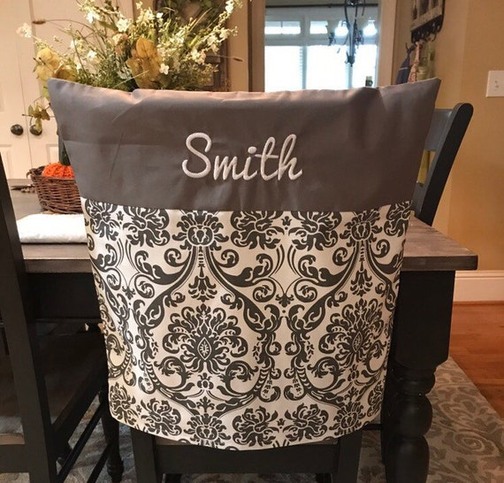 Prime Monogram Chair Cover Dining Or Kitchen Chair Cover Personalized Chair Cover Gray Damask Cover With Monogram One Size Fits Most Unemploymentrelief Wooden Chair Designs For Living Room Unemploymentrelieforg